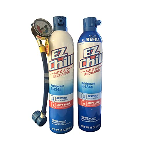 IDQ Interdynamics EZ Chill 36oz R134A Refrigerant AC Recharge - Can Tap Hose with Gauge with Air Conditioning Stop Leak