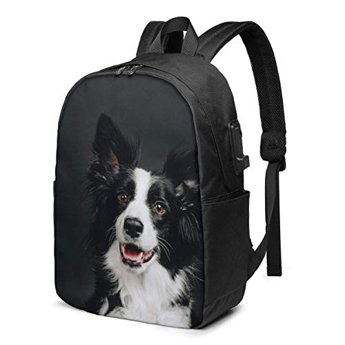 Young Border Collie Dog Smiling Happy Laptop Backpack Durable Laptops Backpack with USB Charging Port College School Computer Bag and Notebook Bla