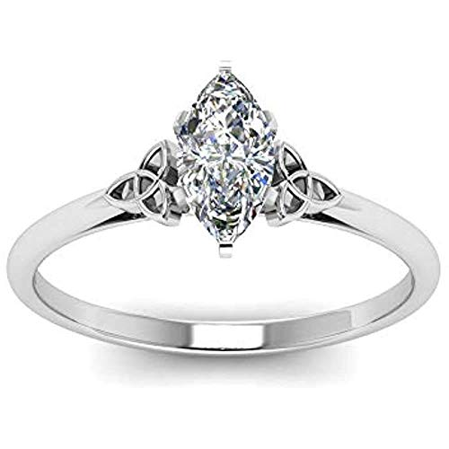 IRA 0.50 Carat Marquise Cut D/VVS1 Diamond Celtic Solitaire Prong Setting Engagement Ring for Womens 925 Sterling Sliver (White, 4.5)
