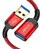 JSAUX Cable Alargador USB 3.0 [2M,2Pack] Tipo A Macho a Hembra Extensor para Conexión Entre PC, TV y Periféricos como Impresora, Ratón, Teclado, Hub, Pendrive, Xbox, Impresoras, y Otros-Rojo