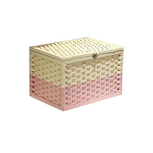 Cartones para embalaje Cesta de almacenamiento con tapa, caja de almacenamiento tejida simple, caja de cosméticos, cesta de aperitivos, almacenamiento de desechos, caja de cartón (color: rosa)