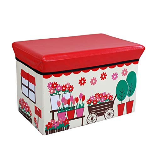 Wddwarmhome Boîte de Rangement Pliable en PVC pour Tabouret de Rangement en Plastique - Poids Maximum 100 kg - Facile à Nettoyer (Taille : 49 * 31 * 31cm)
