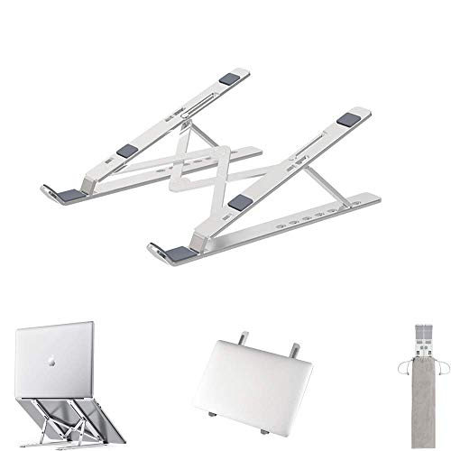 CORZUY Aluminum Alloy Laptop Stand, Foldable and Portable, Ergonomic, Suitable for 10-17inch Laptop/Tablet Silver