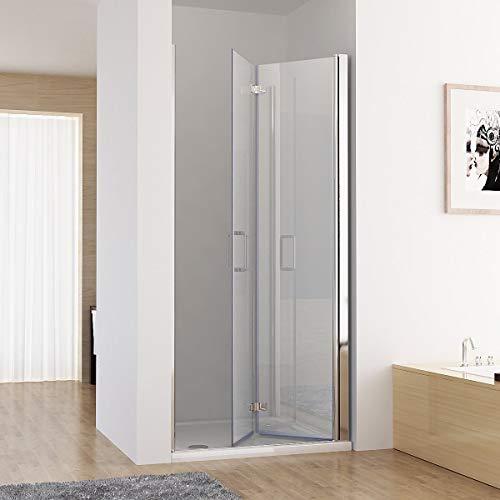 MIQU Nischentür 90 x 185 cm Duschabtrennung 180° Schwingtür Falttür Duschwand Dusche NANO Echtglas DB