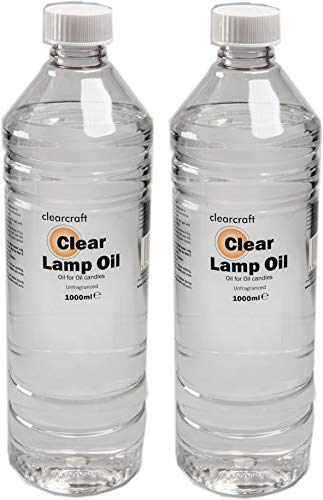 2 x ONE LITRE BOTTLE OF CLEAN BURNING INDOOR SMOKELESS ODOURLESS LAMP OIL WITH FREE FUNNEL