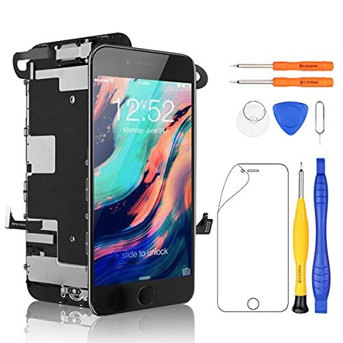Yodoit Schermo per iPhone 8 Plus Nero con Tasto Home LCD Display Completo, Vetro Parti di Ricambio 5,5'+ Set Cacciavite