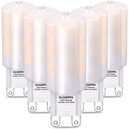 Bombillas LED G9, Luz Blanco Cálido 3000K, 3.5W 350 Lumens (Equivalente a Bombilla Halógena 40W), con Casquillo Estándar G9, Iluminación Led 360°Ángulo Sin Parpadeo, No Regulable, 5 Piezas