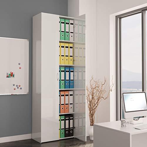 Tidyard Büroschrank Aktenschrank Mehrzweckschrank Schrank Aufbewahrungsschrank Holzschrank Büro Hochglanz-Weiß 60x32x190cm Spanplatte