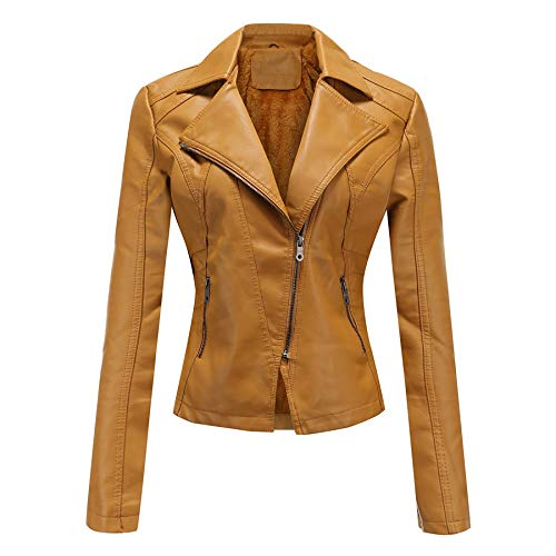 Derrick Aled(k) zhuke Damen Plüsch Lederjacke Diagonaler Reißverschluss Kurze Damenjacke Lässige kleine Jacke