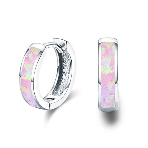 Damen Creolen Ohrringe,925 Sterling Silber Opal Ohrringe Kleine Creolen Kreis Ohrringe Kreolen für Tochter,Kinder,Mädchen