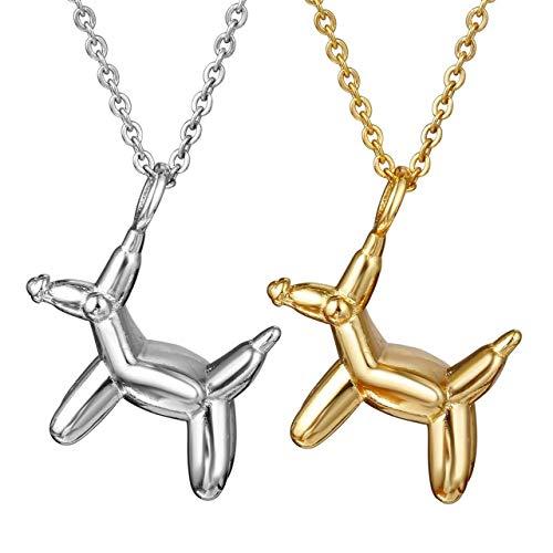 necklace dier hondje hangende halsketting, leuke metalen lucky dog charm sieraden voor vrouwen meisjes kinderen, kleur: zilver