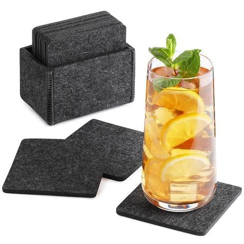 Sidorenko Sottobicchieri in feltro quadrati per bicchieri - Set di 10 incl. scatola - Sottobicchieri di vetro di design in grigio per bevande, tazze, vetro - Sotto bicchieri da tavolo