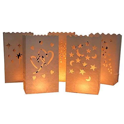 Topwon 24Pcs Luminary Bags for Flameless Candles Tea Lights LED Lights|6 Style Heart Star&Moon Double Heart Fireworks Butterfly and Sun|Valentine Halloween Thanksgiving Christmas Party Decoration