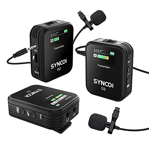 SYNCO G2 A2 2.4Ghz Sistema di Microfono Lavalier Wireless, Microfoni Clip Senza Fili Compatibile per Fotocamera Reflex, Videocamera, Smartphone, Tablet, Radio-Microfono-Lavalier-Wireless-Professionale