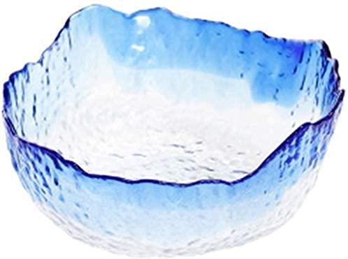 Cuencos y tazones Cuenco Hogar Sopa Sopa Cuenco Cuadrado Glaciar Glaciar Cuenco Japonés Estilo Ensalada Cuenco Simple Transparente Martillo Modelo Desayuno Postre Tazón de fuente (Color: Azul, Tamaño:
