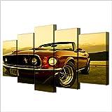 WUHUAGUO Cuadros Modernos Impresión De Imagen Artística Digitalizada | Lienzo Decorativo para Salón O Dormitorio Coche Mustang Estilo Abstractos | 5 Piezas 150X80Cm XXL