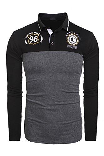 Burlady Herren Poloshirt Langarm Kentkragen mit unterschieden Stickerei Doppelfarbig Polohemd für Männer Schwarz XL
