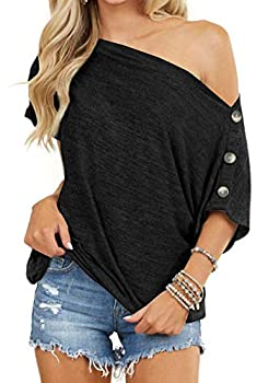 INFITTY Womens Off Shoulder Tops Casual Summer Loose Button Down Short Sleeve Sexy Shirt Tunic Blouse Black X-Large