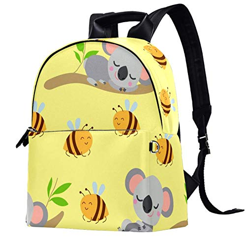 Koala and Yellow Bees Laptop Backpack iPad Tablet Travel School Bag with Multiple Pockets for Men Women Kids Boys Girls