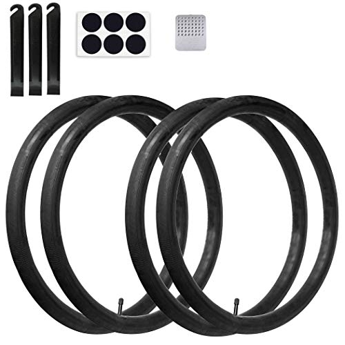 Calvana (4 Pack) 24'' x 1.75/2.125 Replacement Inner Tubes with Tire Leveler and Round Patches for Youth Bike with 24 Inch Tires. Made of Heavy Duty, Thick Butyl Rubber.