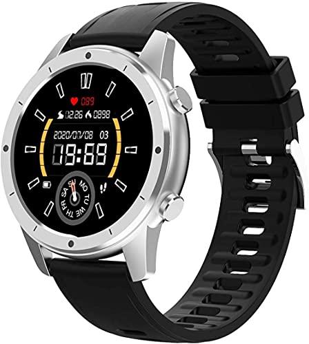 SHIJIAN Reloj inteligente de pulsera de gama alta, 1.3 pulgadas Bluetooth llamada personalizada dial deportes podómetro impermeable reloj, masculino y femenino par reloj-plata