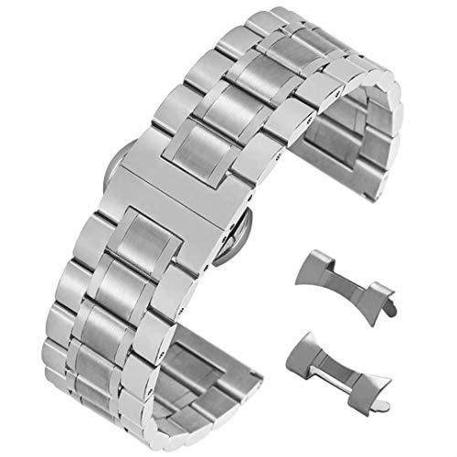 21mm de Plata de Moda Pulsera de Acero Inoxidable para el Reloj de los Hombres Cepillado Correa de Reloj Acabado Pulido