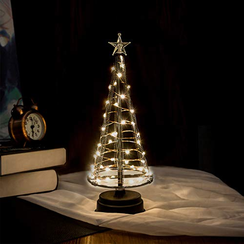 HONESTY Mini Christmas Tree, Night Light for Home/Decoration/Party/Wedding, USB or Battery Powered, 10Inch 40LED Light Tree, Inside Black S