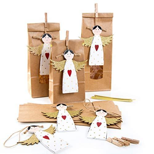 Logboek-uitgeverij 6 kerstzakken met venster + engelhanger - verpakking kerstkoekjes thee gebak Kerstmis Engel goud-wit