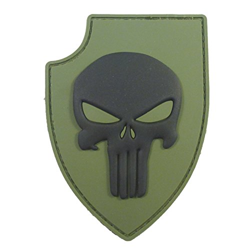 2AFTER1 Olive Drab Green PVC 3D Rubber Punisher Skull USA Sealteam DEVGRU Glow Dark Hook-and-Loop Patch