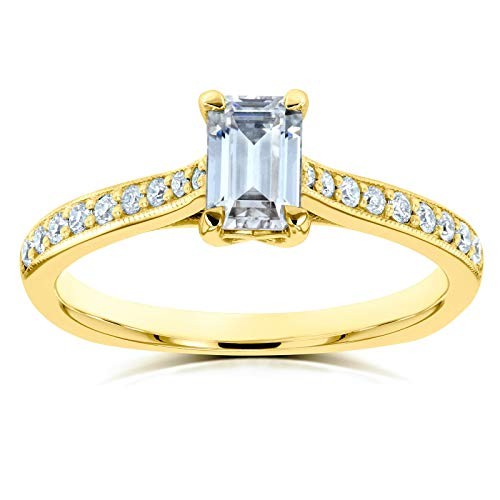 Kobelli Emerald Moissanite (FG) Vintage Trellis Engagement Ring 3/4 CTW 14k Yellow Gold, 4