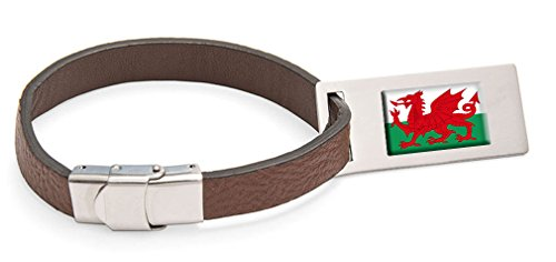 Wales'The Red Dragon' Flag Leather Luggage Tag Steel Engraved Text