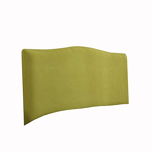 KYJSW Funda protectora para cabecero de cama, a prueba de polvo, elástica, extraíble, lavable, color sólido, para cama individual, doble, king (amarillo-verde, 220 cm)