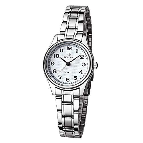 HopeU5 Wwoor Damen Sportuhr Mode Edelstahlband Wasserdicht Uhren Stoßfest Digitale Outdoor Armbanduhr (Weiß)
