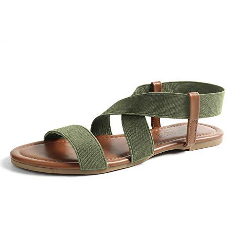 SANDALUP Neue elastische Sandalen für Damen Summer Neue Khaki Grün 07
