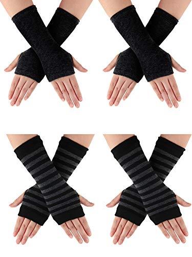 SATINIOR 4 Paar Fingerlose Handschuhe für Handgelenk mit Daumenloch Warme Unisex Kaschmirhandschuhe (Farbe Set 3)