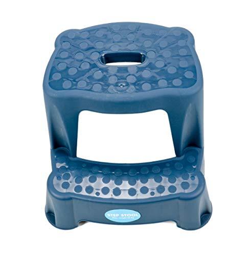 2 Tritt-Hocker für Kinder als Stehhilfe fürs Waschbecken und zum Sitzen, gummierte Füße, 2 Stufen, aufgeraute Stehfläche, Eingriff zum Tragen Tragkraft max. 45 kg (Dunkelblau)