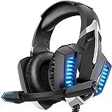 DIZA100 Gaming Headset für PS4 PS5 PC Xbox One, Surround Bass Sound Professional Gaming Kopfhörer mit LED Lichter und verstellbarem Mikrofonp für Laptop Mac Tablet Nintendo Switch
