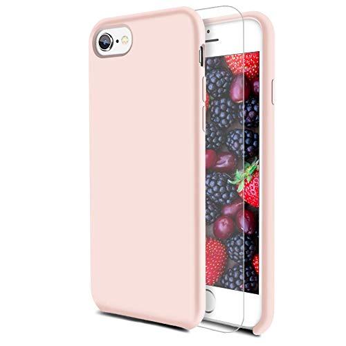 Feyten Cover iPhone 6S/ iPhone 6 [con Vetro Temperato], Custodia Gomma Gel Silicio Liquido con Fodera Microfibra Morbida Caso Silicone Sottile Protettiva Cover (Rosa)