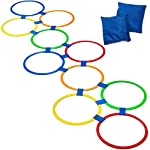 GETMOVIN SPORTS Hopscotch Ring Set with 2 Premium Beanbags Giant Sized 14 and ½ Inch Rings with 15 Connectors for Indoor/Outdoor Portable Fun Conditioning Agility Training