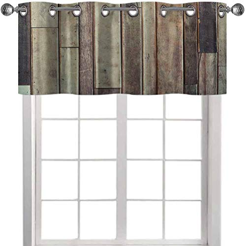 """Room Darkening Curtain Valance, Antique Planks Flooring Wall Picture American Style Western Rustic Panel Graphic Print, 36"""" W x 18"""" L Thermal Insulated Window Curtain Valance for Bedroom, Brown"""