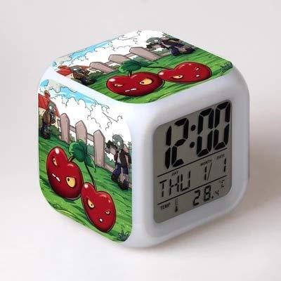 fdgdfgd Planta de Dibujos Animados Animal Despertador Digital Vegetal 7 Cambio de Color Despertador Dormitorio con termómetro Reloj de Fecha