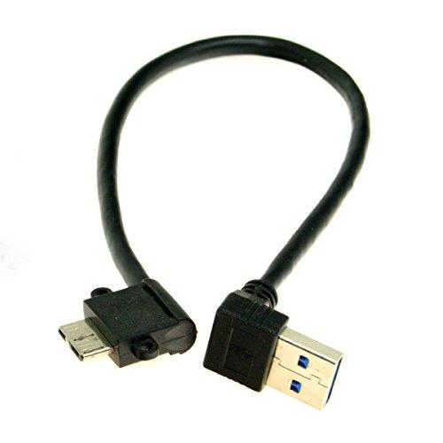 JSER, Cavo con attacco da USB 3.0 ad angolo retto a 90 gradi a micro USB a 10 pin ad angolo retto a destra, 20 cm, per cellulari e hard disk SSD