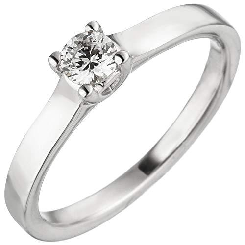JOBO Damen-Ring aus 585 Weißgold mit Diamant Brillant 0,25 ct. Größe 54
