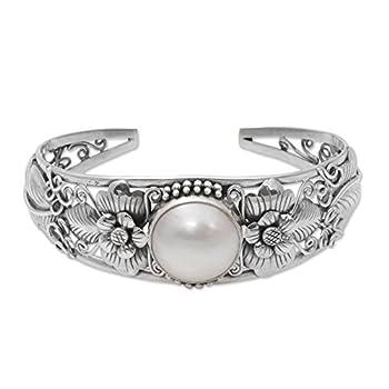 NOVICA White Cultured Mabe Pearl .925 Silver Cuff Bracelet Moonlight Vines