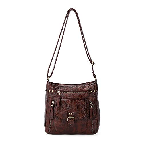 Angel Kiss Crossbody Bags for Women Shoulder Purses and Handbags, PU Washed Leather (AK-KE2053#687#10COFFEE)