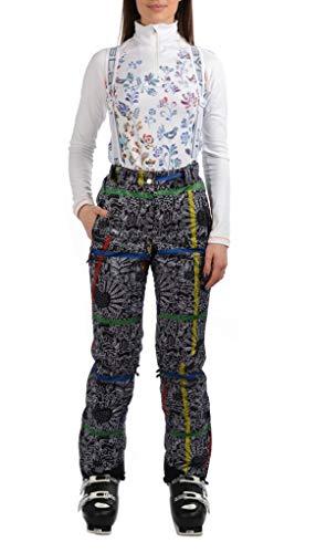 Stayer geïsoleerde thermische broek dames sport skibroek winterbroek waterdicht freeride zwart wit bloemen bont patroon