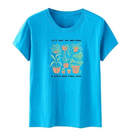 SLYZ Camiseta De Manga Corta Estampada para Mujer De Verano Camiseta Holgada Informal con Cuello Redondo para Mujer