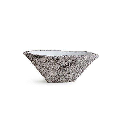 Vasque Lavabo à Poser/Suspendu Ovale Terra Peperino en céramique - 54x46xh20 cm (avec bassin blanc)