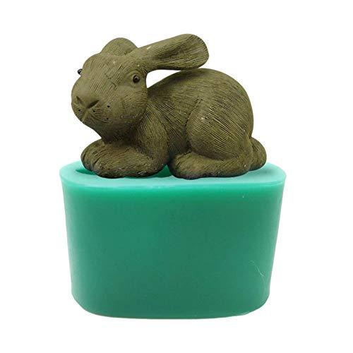 Luminiu, stampo in silicone per fondente di coniglio pasquale, per uso alimentare, in silicone, per decorazione di torte, caramelle e animali, decorazione fai da te