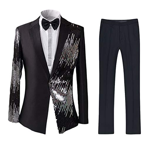 Cloudstyle Mens 2-Piece Suit Casual One Button Slim Fit Blazer Stylish Sport Coat and Trousers Black Medium